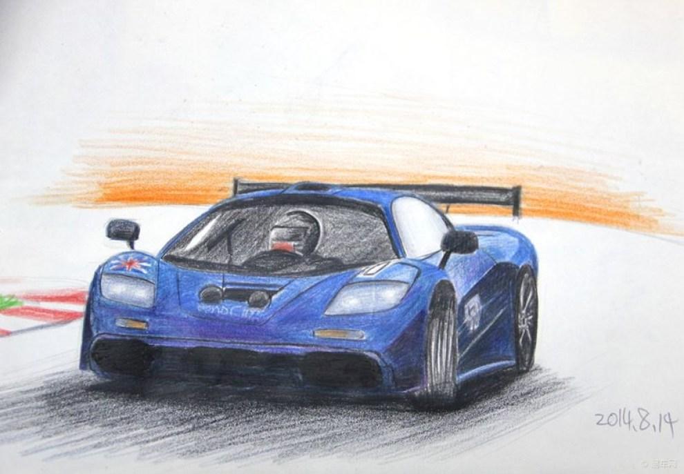 【我爱画汽车】彩铅蓝色的迈凯轮f1