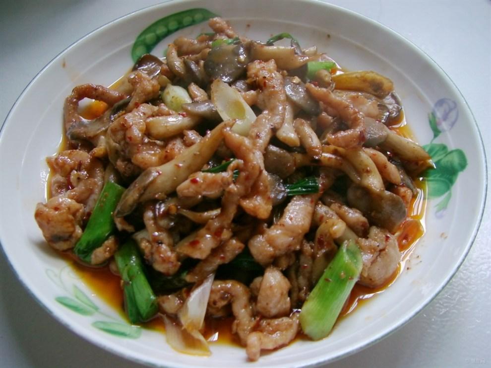厨艺平菇材料炒宝贝韩式炒肉丝年糕图片
