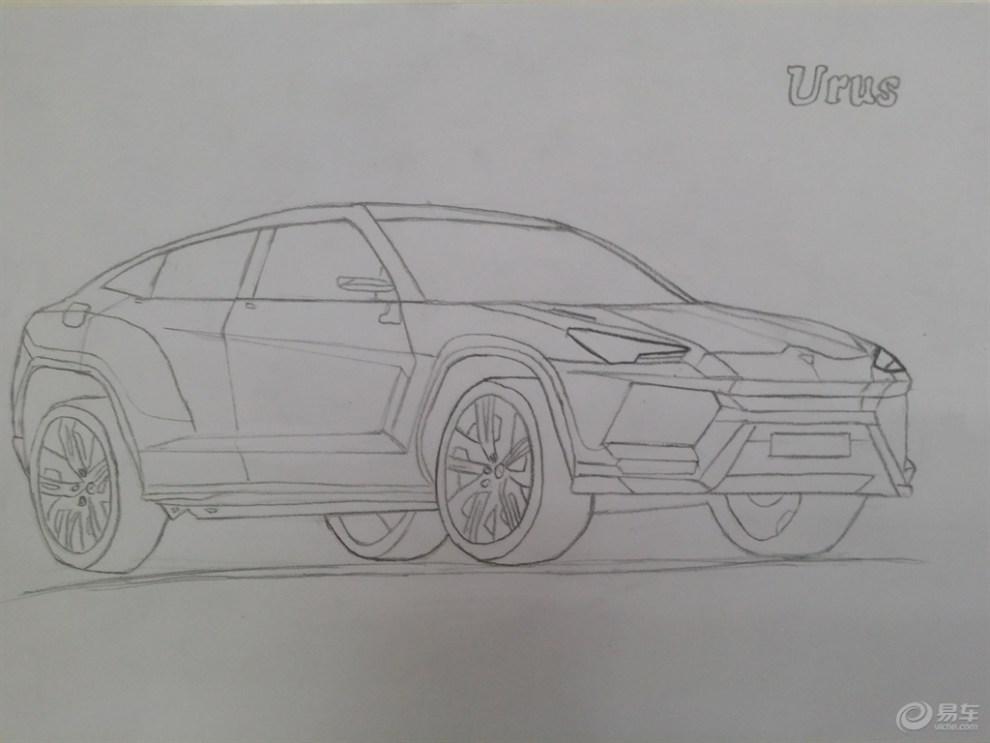 【【每周易画】彩色铅笔中的兰博基尼urus】_画汽车