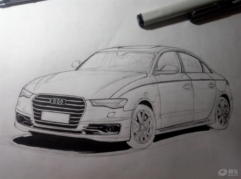 首次尝试马克笔手绘汽车